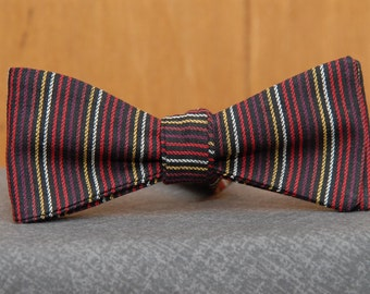 Reds and Yellows Stripe on Black Woven  Bow Tie
