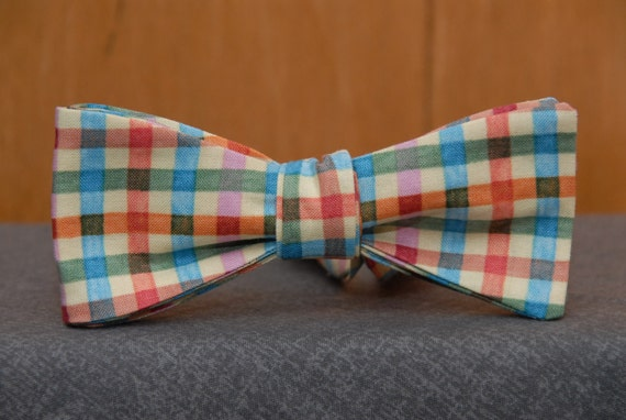 Multicolored Gingham  Bow Tie