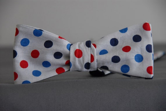 Red, Black and Blue Dots on White  Bow tie