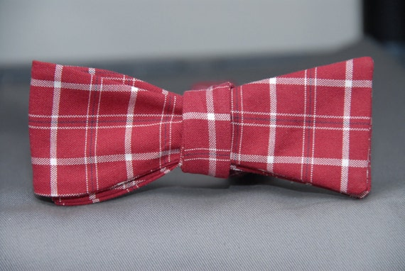 Red and White Window Pane  Bow Tie