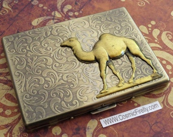 Brass Camel Cigarette Case Antiqued Gold & Brass Tones Rustic Gothic Victorian Vintage Inspired Steampunk Style Slim Case By Cosmic Firefly