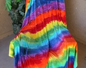 Hand Dyed OBV, Organic Bamboo Velour, Yardage, Rainbow Stripes - ClosetonQueenCreek