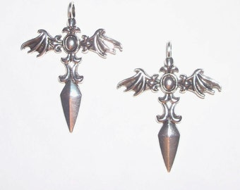 Silver Batt Winged Pendant