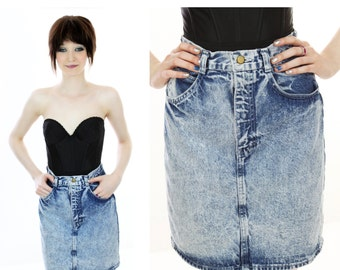 Acid Wash Skirt 80s Jean Denim Mini Punk Metal Indie Rocker Chic Vintage 1980s 90s Small S XS