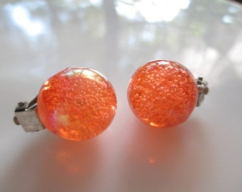 Large Vintage Shimmery  Fiery Orange Lucite Ball Statement Earrings