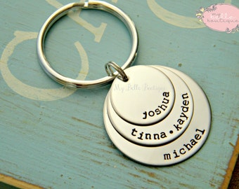 Personalized Hand Stamped Triple Round Disc Keychain - Great for Father's Day