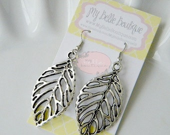 Antique Silver Leaf Earrings READY TO SHIP