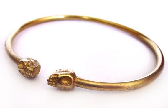 Brass Mini Skull Bangle