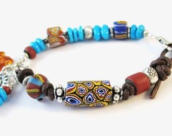 Antique African Trade Beads, Sleeping Beauty Turquoise Bracelet, Leather Bracelet, Sundance Style