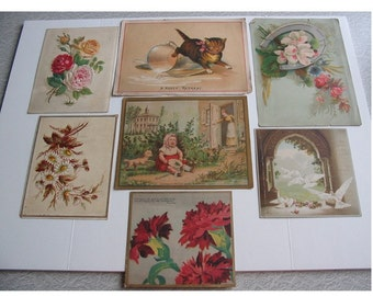 Antique VICTORIAN CHROMOLITHOGRAPHS -- 1880's SCRAPBOOK Pieces