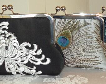 Embroidered Chrysanthemum Clutch/Purse/Bag..Silver/White/Black..Gold/Ivory..Silk Kimono..Floral.Long Island Bride/Wedding/Gift.Free Monogram