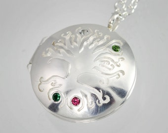 "Locket- Mother's Tree of Life, Med. w- 4stones(24"") Made to order"