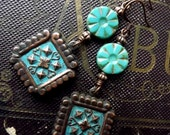 Victorian inspired medallion dangle earrings, dark copper with turquoise Czech glass
