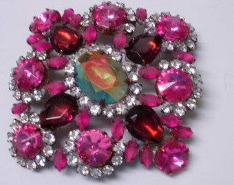 Vintage Pin or Brooch---Shades of Pink, Burgundy and Aurora Crystals--signed