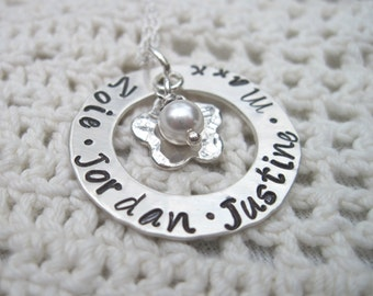 Four Name  Mommy Mother Grandma Nanna Necklace on Sterling Silver Chain
