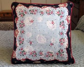 Ring Around The Rosey vintage handkerchief pillow by C. Lickona