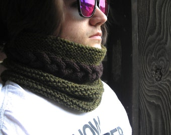 Knitting Pattern PDF - cowl neckwarmer men women - Cable Warmer -  DIY Father's Day gift - Help support the Wounded Warrior Project