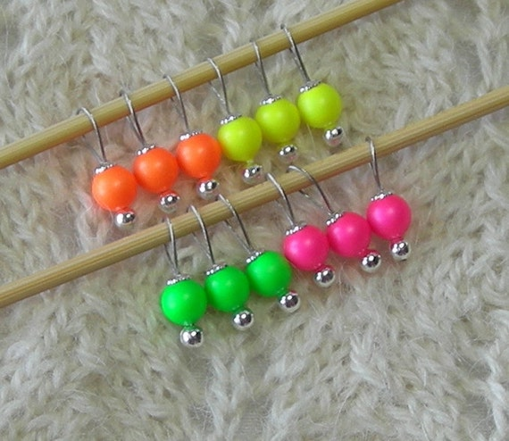 Lace Knitting Stitch Markers : Sock Knitting Stitch Markers Tiny Neon by lavenderhillknits