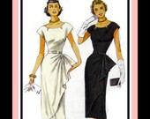 1951 -Sizzling Side Fan Drape -Wiggle  Dress -Sewing Pattern -Notched Neckline -Lined  Dress-New- Uncut -Sizes 6-14