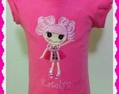 Cute Lalaloopsy Appliqued Shirt - Pink tee - Machine Embroidered