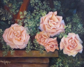 Still Life Painting, FRAMED, Roses In Basket, Oil On Canvas Original by Cheri Wollenberg