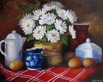 Oil Painting Farmhouse Style Kitchen Wall Art, Daisy Bouquet With Fresh Eggs, Original Oil Painting by Cheri Wollenberg
