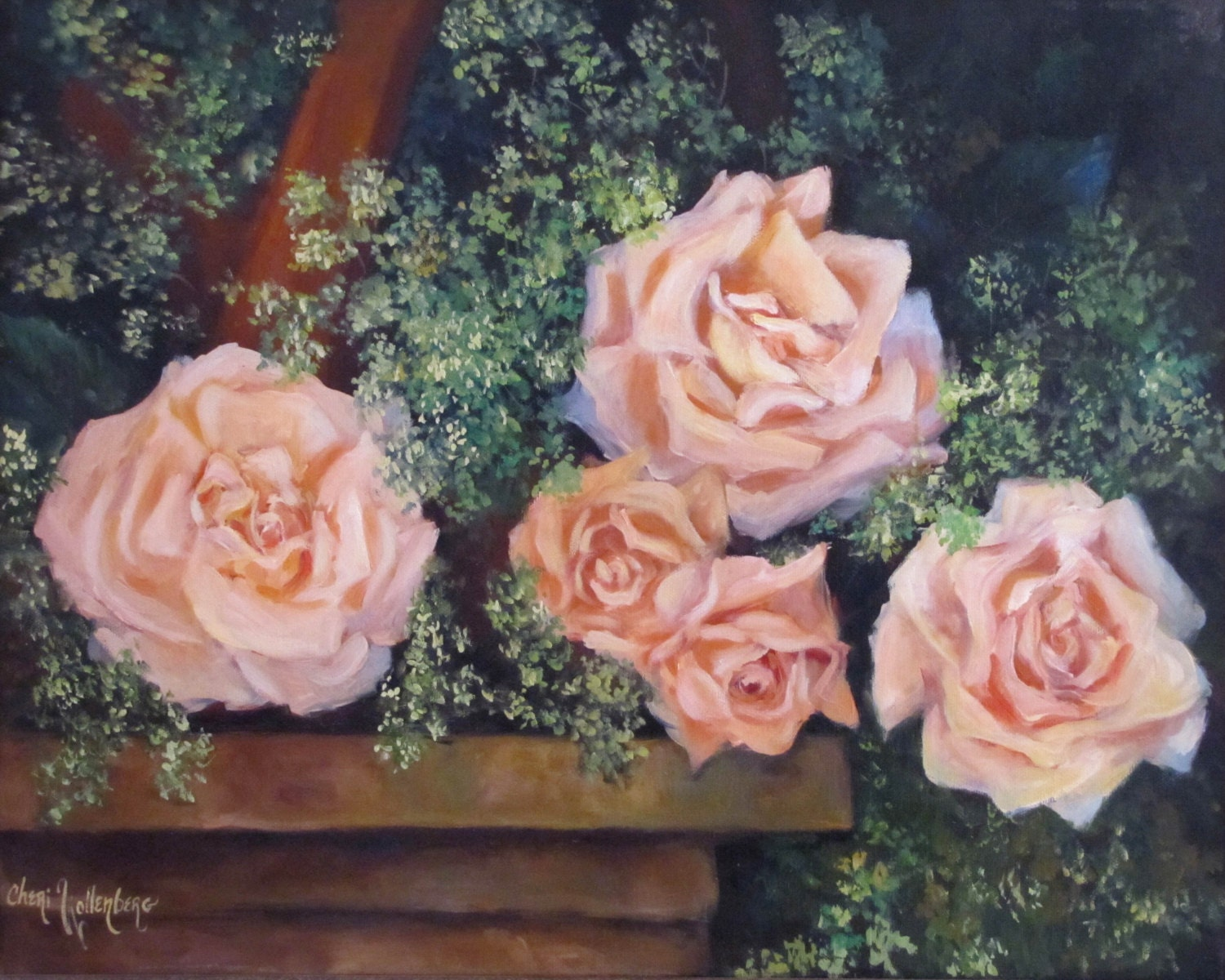 Still life painting peach roses 16x20 framed painting for Peach auto painting