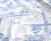 Quilting Cotton Sandpiper Toile Lighthouses 100 per cotton 43 inches wide