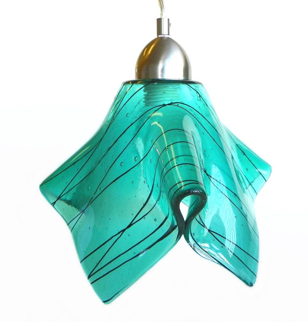 Aqua Art Glass Lg Pendant Light Ceiling by UneekGlassFusions