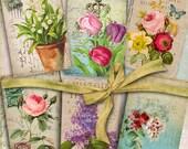 SHABBY FLOWERS - Digital Collage Sheet Gift Tags Jewelry Holders Printable Vintage Ephemera Greeting Cards