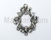 1 x oxidized 925 sterling silver connector 20mmx26.5mm (12109chadox)