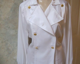 Vintage pearly white double breasted blouse, shiny polyester double breasted nautical look blouse, white blouse size S