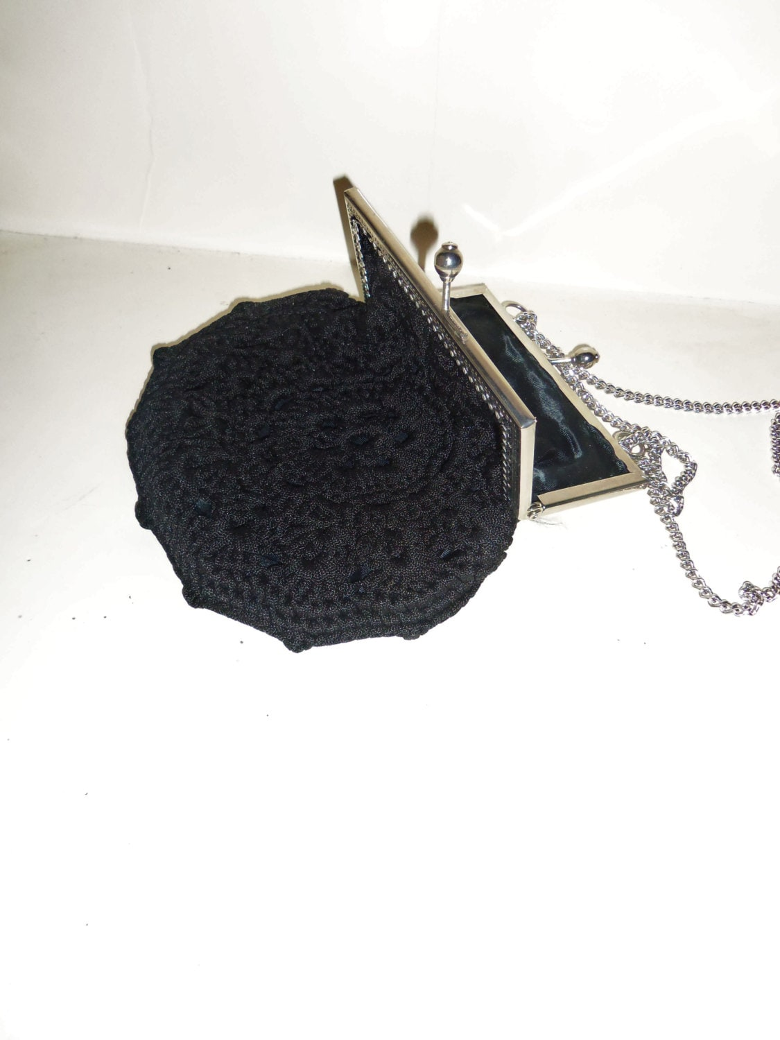 Crochet Wire Bags : Black Crochet Corde Purse Evening Bag Silver Metal by Avaricia