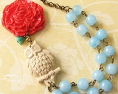 Owl Necklace Owl Jewelry Flower Necklace Pendant Necklace Coral Necklace Turquoise Statement Necklace Whimsical Necklace