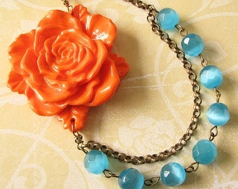 Flower Necklace Statement Necklace Bib Necklace Bridesmaid Jewelry Orange Necklace Aqua Jewelry Gift For Her