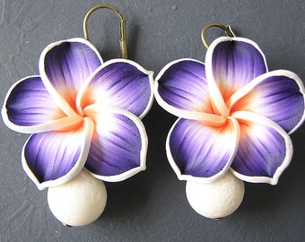 Flower Earrings Purple Jewelry Dangle Earrings Bridesmaid Jewelry Drop Earrings Gift For Her