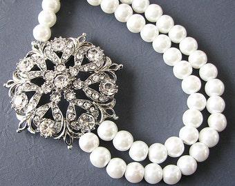 Bridal Jewelry Pearl Wedding Necklace Wedding Jewelry Bridal Necklace Crystal Rhinestone Swarovski Necklace