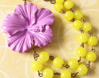 Flower Necklace Statement Necklace Yellow Necklace Purple Jewelry Bridesmaid Gift Bib Necklace Double Strand