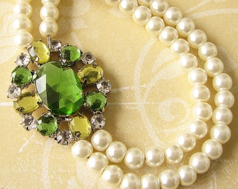 Pearl Wedding Necklace Bridesmaid Jewelry Set Lime Green Bridal Necklace Bridal Jewelry Wedding Jewelry