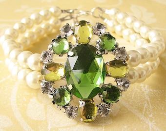 Bridal Jewelry Wedding Bracelet Bridal Wedding Jewelry Cuff Bracelet Pearl Rhinestone Bracelet Lime Green Jewelry