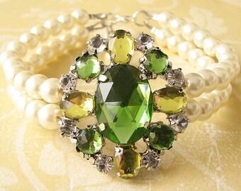 Bridal Jewelry Lime Green Bracelet Bridal Wedding Jewelry Pearl Rhinestone Bracelet Lime Green Jewelry Delicate Bracelet Bridesmaid Gift