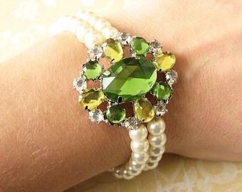 Bridal Bracelet Bridal Jewelry Wedding Bracelet Wedding Jewelry Cuff Bracelet Pearl Rhinestone Bracelet Bridesmaid Jewelry