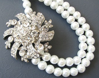 Bridal Necklace Wedding Jewelry Statement Necklace Bridal Jewelry Pearl Rhinestone Necklace Gift