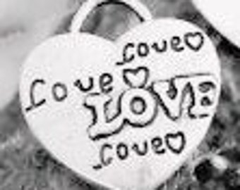 Vintage Style Antique Silver Hearts Love Charms Pack Of 10
