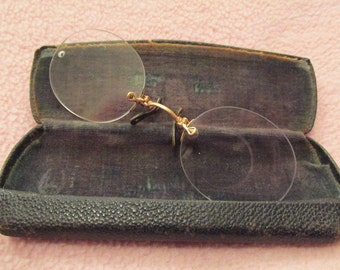 Antique Frameless Spectacles with Old Case SALE