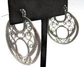 Silver filigree hoops- Lace in silver earrings.
