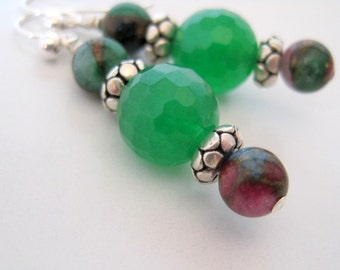 Green Jade and Mosaic Agate Earrings