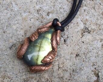 Labradorite and Copper Leaves Pendant- SALE!