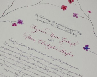 Hand Lettered Quaker Marriage Certificate featuring Hand Calligraphy Deposit