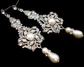 Bridal earrings, Pearl Wedding earrings, Wedding jewelry, Chandelier earrings, vintage style earrings, antique silver earrings, AVA